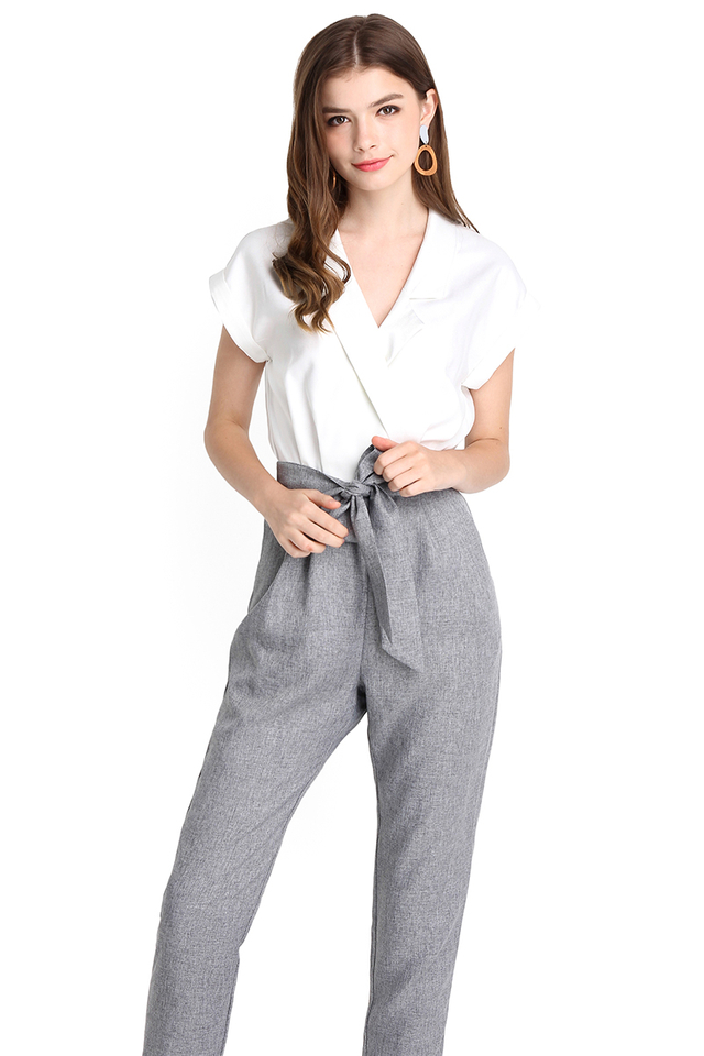 [BO] French Quarter Romper In White Grey