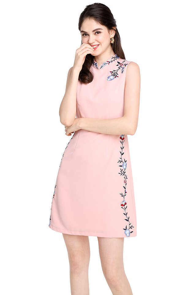 Abundance Of Blessings Cheongsam Dress In Soft Pink