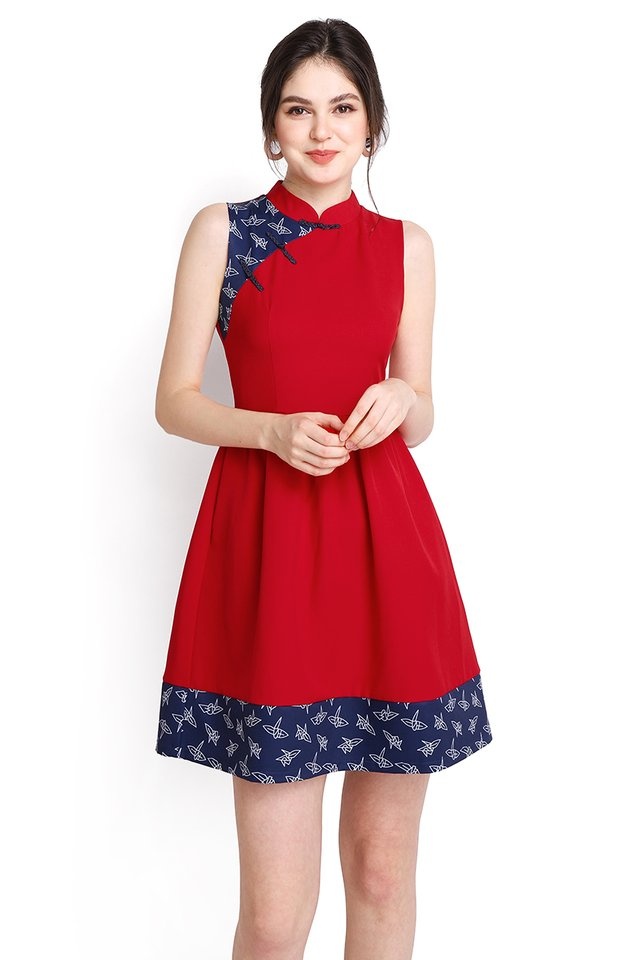 Origami Crane Cheongsam Dress In Festive Red