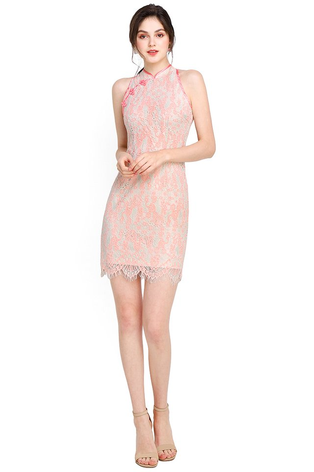 Springtime Romance Cheongsam Dress In Apricot