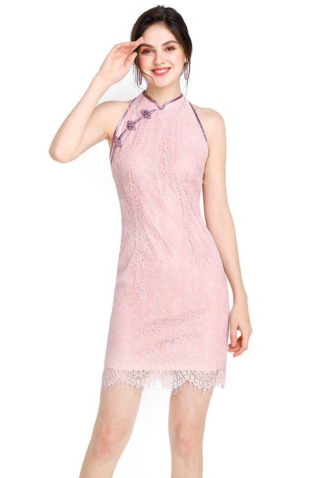 Springtime Romance Cheongsam Dress In Lilac
