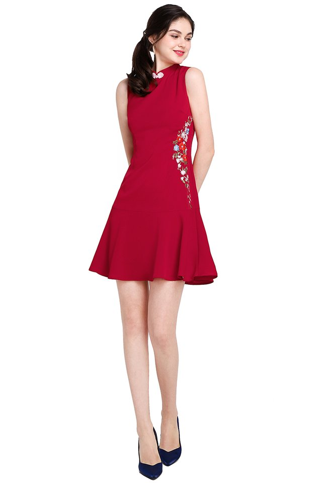 Cascading Blossoms Cheongsam Dress In Festive Red