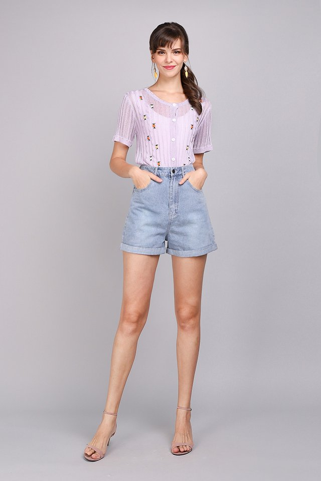 Knit Of Time Top In Dusty Lilac