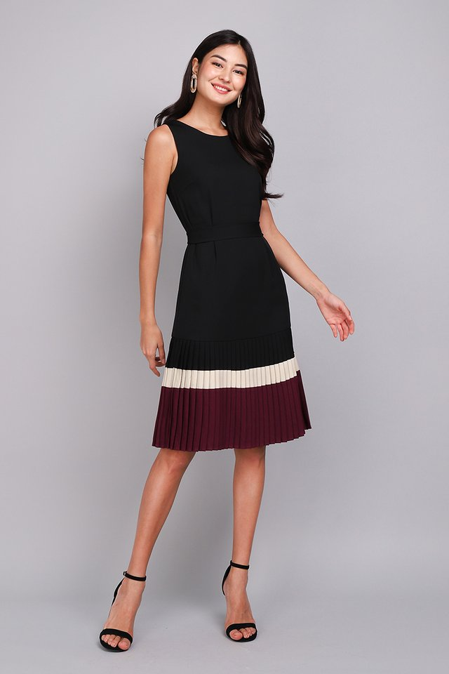 Classically Crafted Dress In Black Wine
