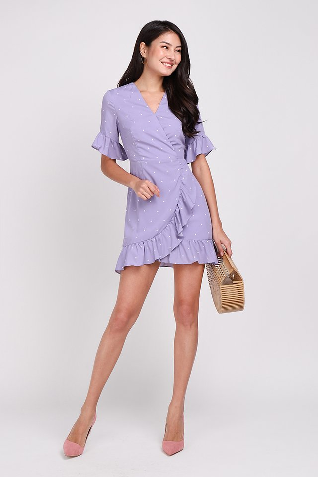 America Hearts Dress In Lilac Dots