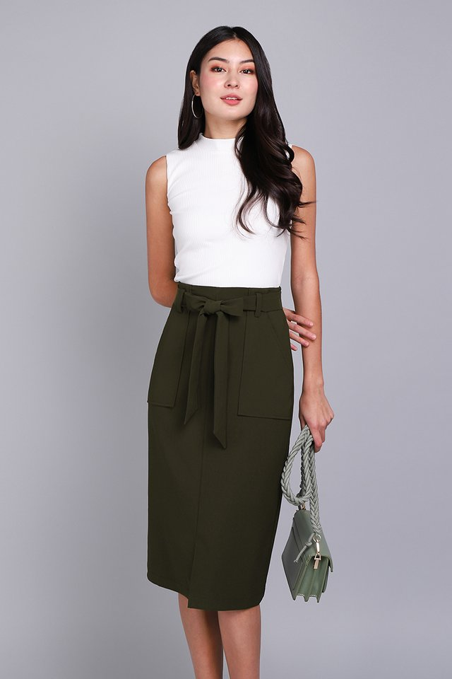 Classy Inspiration Skirt In Olive Green
