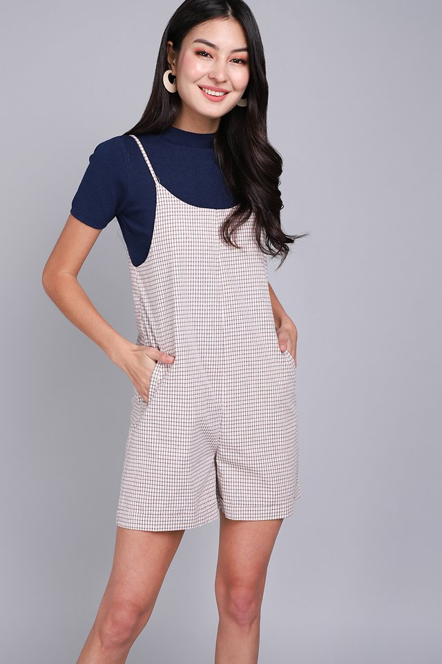 Traveller's Tale Romper In White Checks