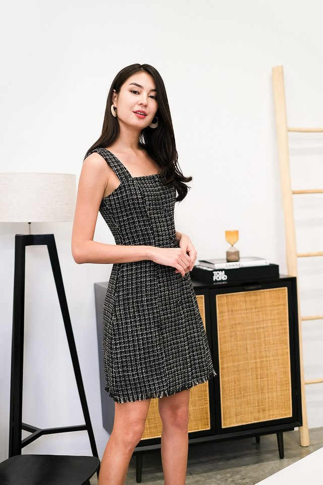 Trimmed To Perfection Dress In Black Tweed