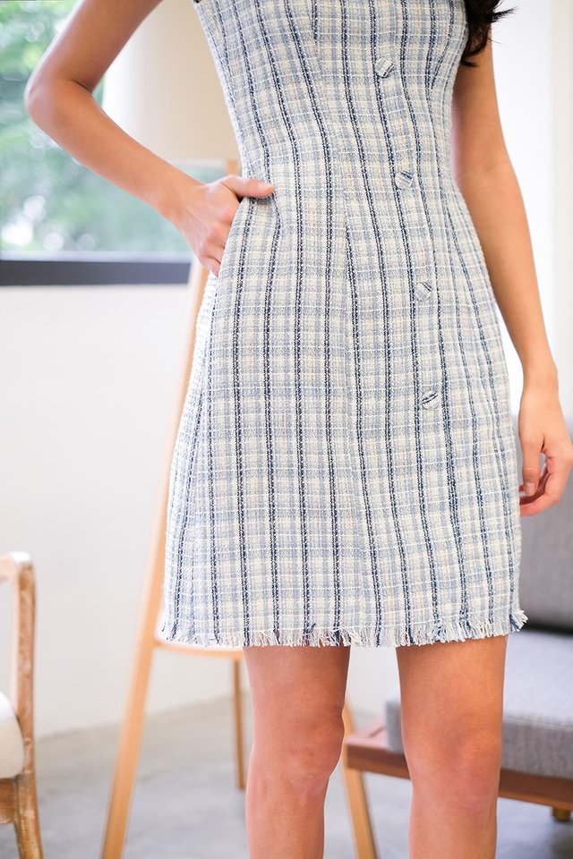 Trimmed To Perfection Dress In Blue Tweed