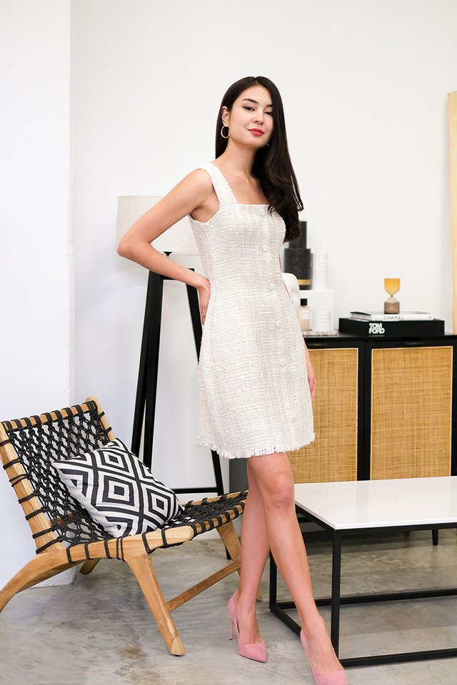 Trimmed To Perfection Dress In Cream Tweed