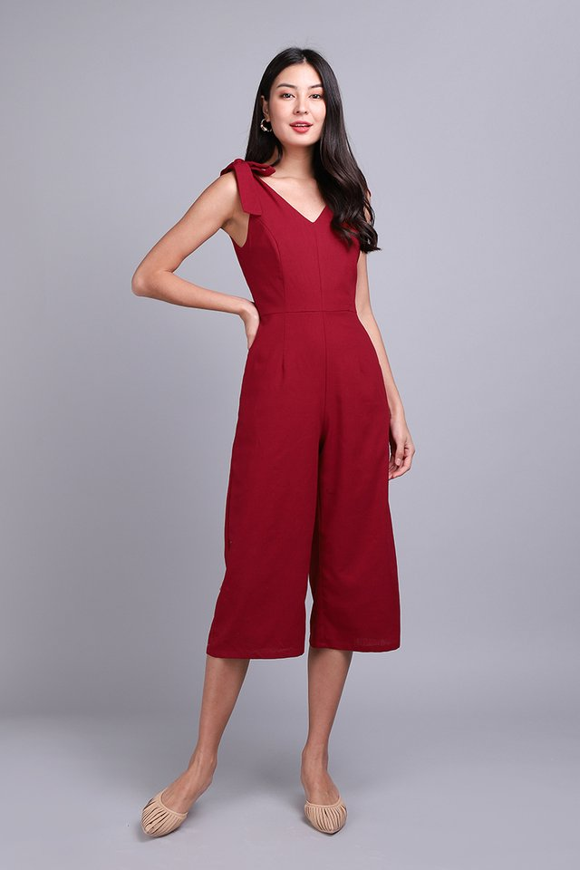 Good Vibes Only Romper In Festive Red