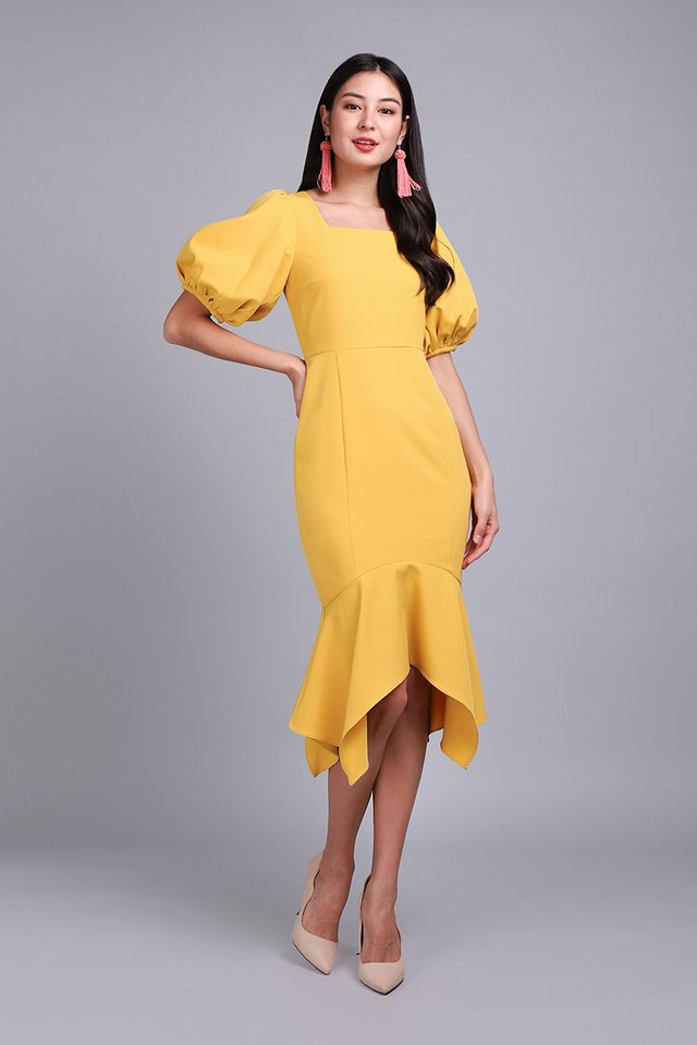Spring Odyssey Dress In Honey Yellow