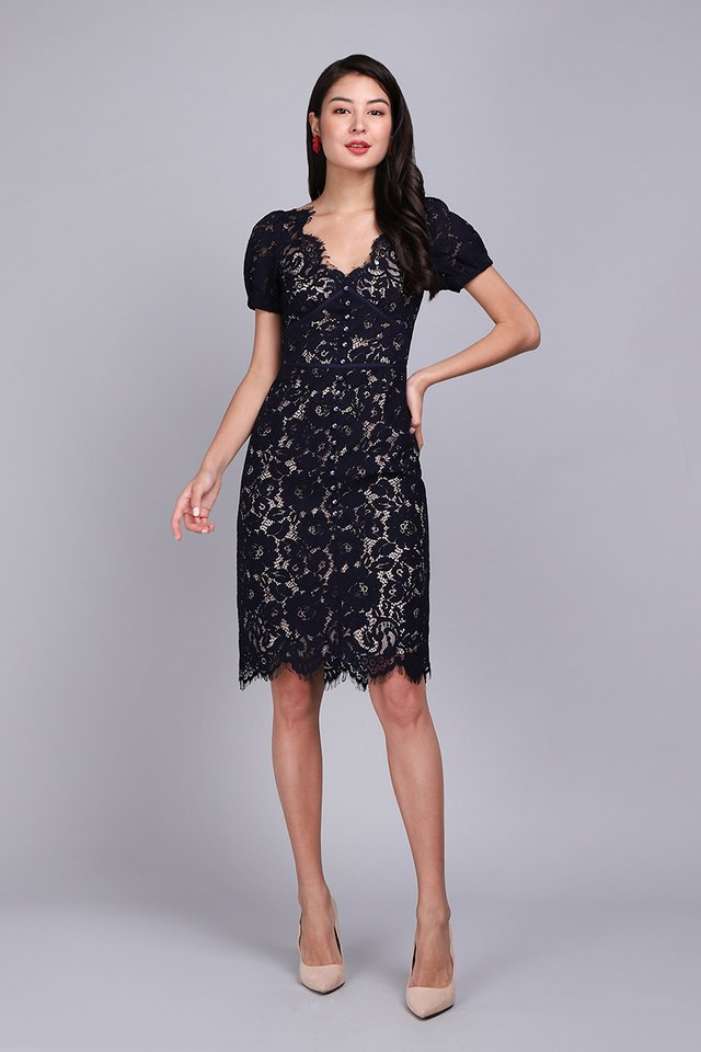 [BO] Spring Portrait Dress In Navy Lace