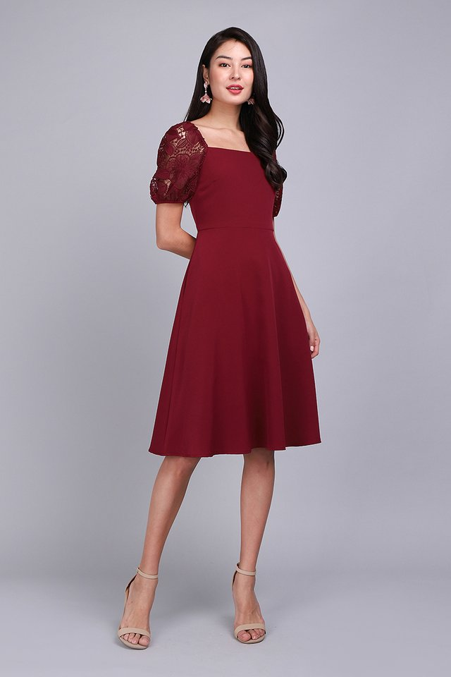 Heartfelt Conversations Dress In Wine Red