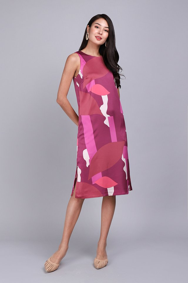 Dramatic Flair Dress In Fuchsia Prints