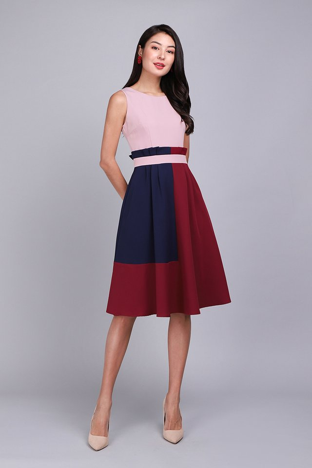 Architectural Ardour Dress In Pink Wine