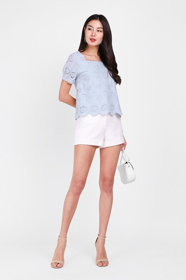 Dainty Wish Top In Dusty Blue