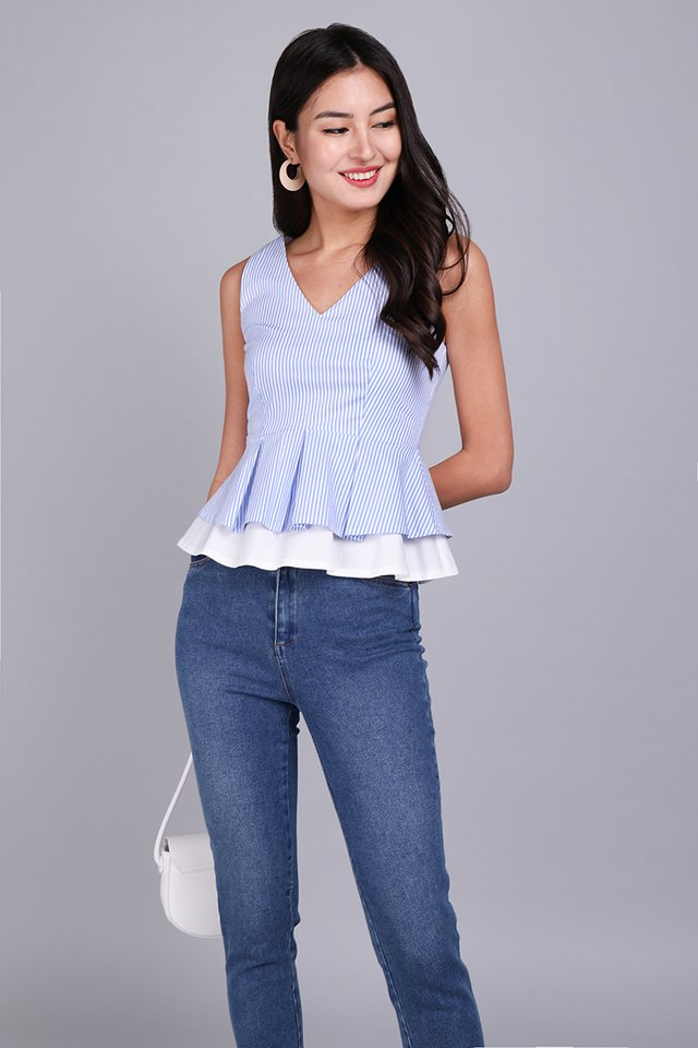 Girl About Town Top In Sky Stripes