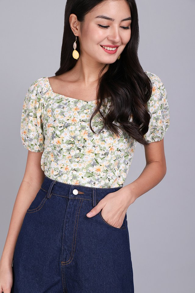 Most Hearted Top In Green Florals