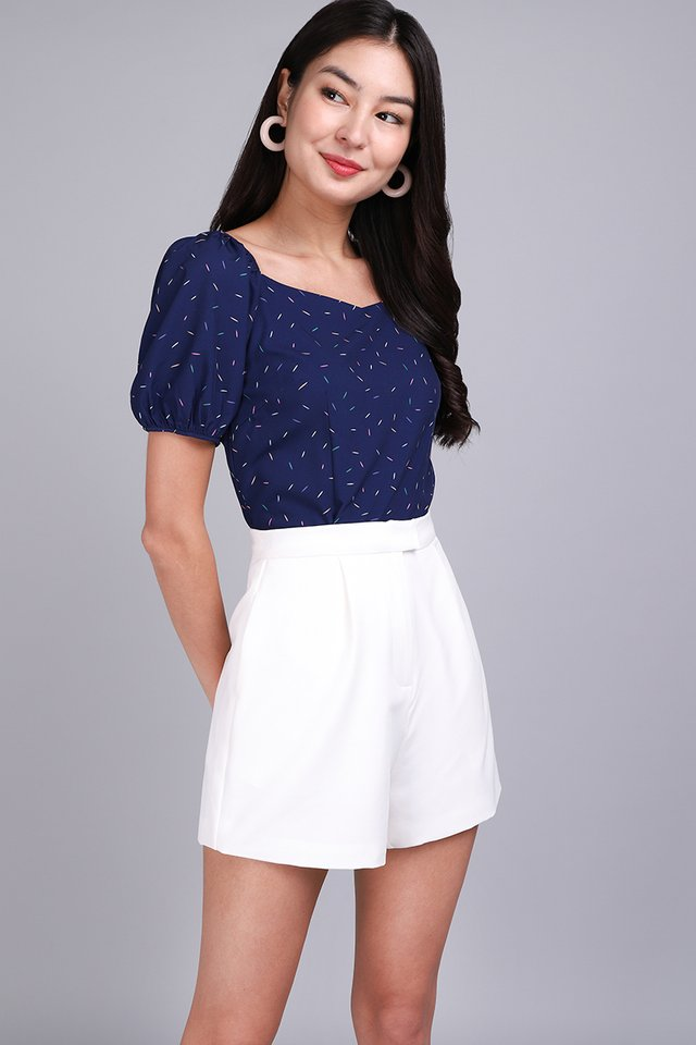 Most Hearted Top In Blue Confetti