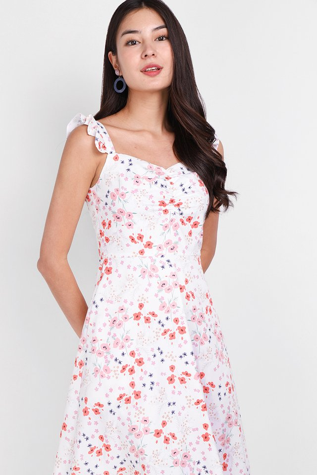 Flowery Flounce Dress In Coral Blooms