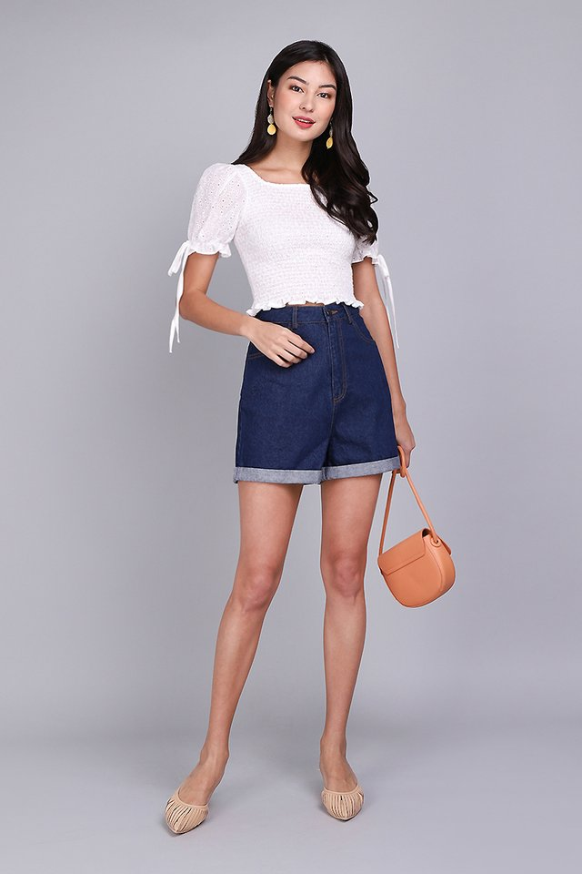 Magic In The Air Top In White Eyelet