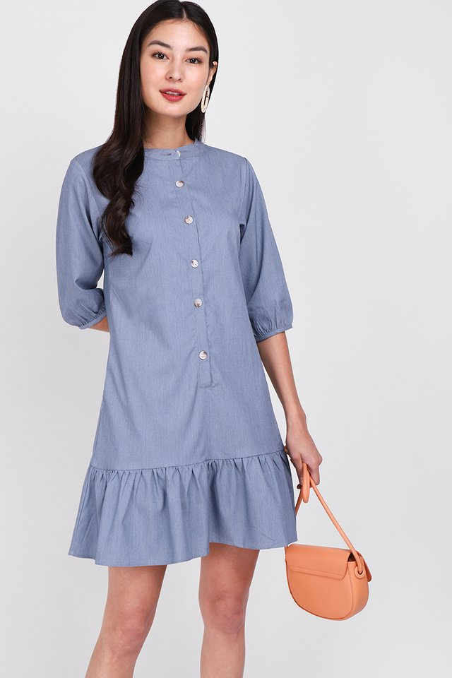 [BO] Morning Calls Dress In Denim Blue