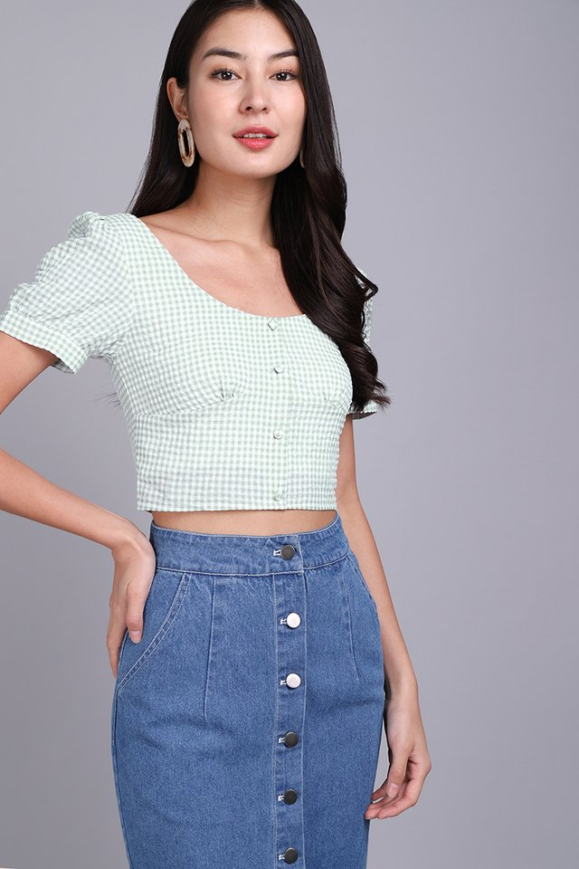 Spring Picnic Top In Mint Gingham