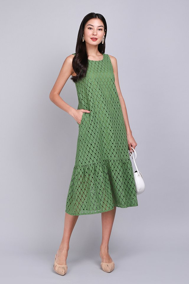Thinking Of You Dress In Green Eyelet
