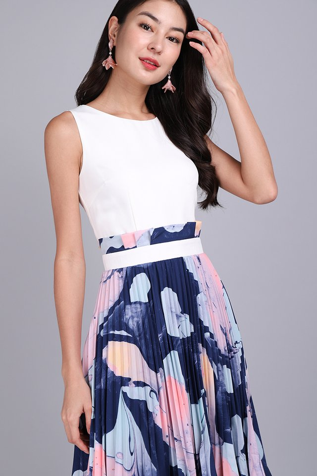 Paint My Love Dress In White Prints