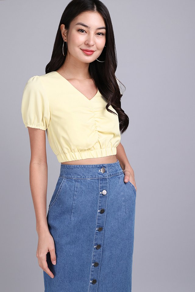 Lasso My Heart Top In Pastel Yellow