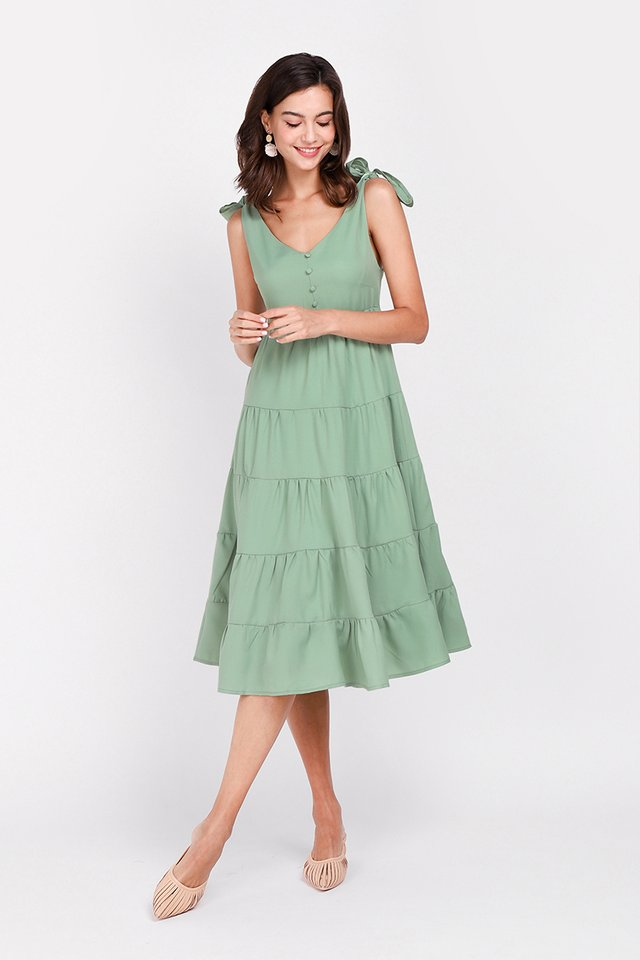 Tiers Of Happiness Dress In Fern Green