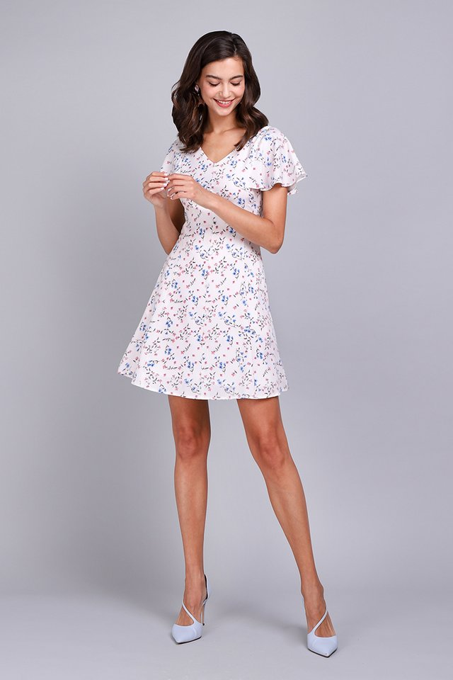 Summer Merriment Dress In White Florals