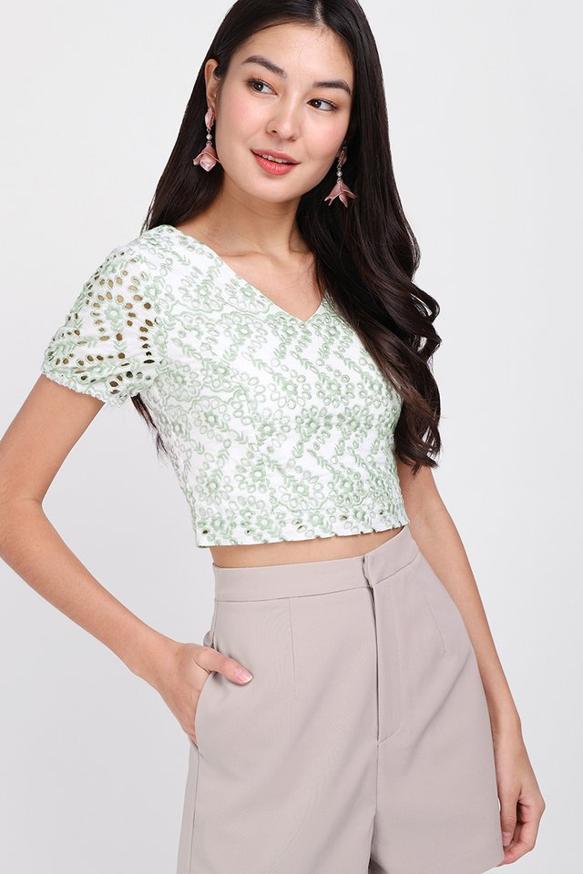 Day Tripping Top In Sage Eyelet