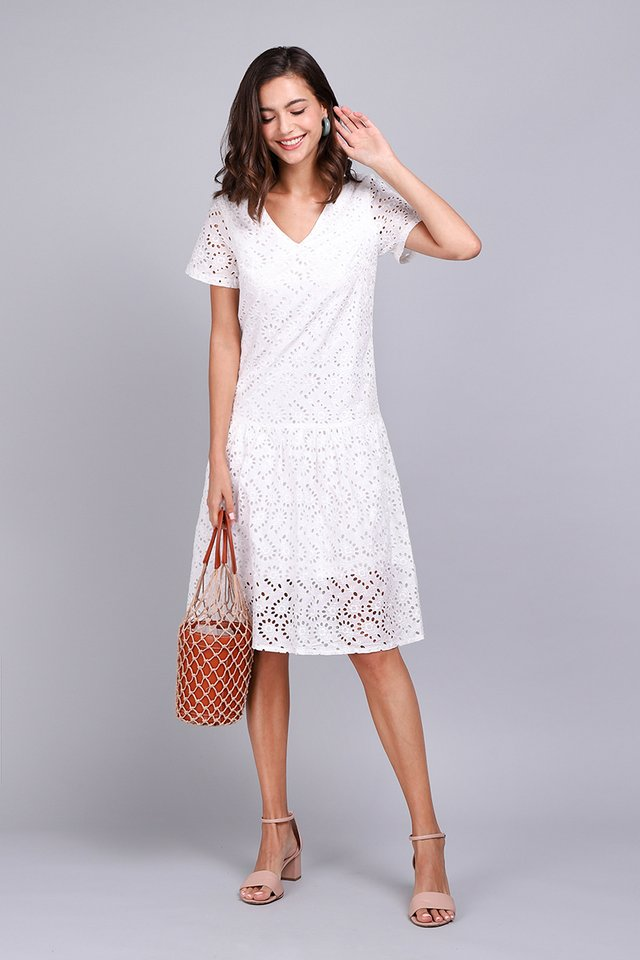 Always On My Mind Dress In White Eyelet
